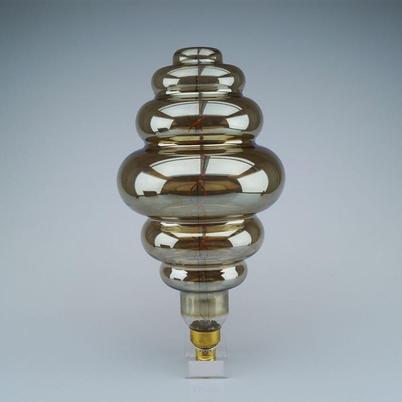 Bec LED 8W Fumuriu, Dublu Filament, Dimabil, S200, E27, Lumina Calda 2000K