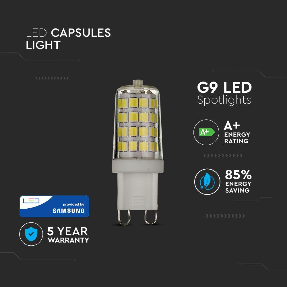 Bec LED 3W G9, Plastic, Lumina Rece 6400K, Cip Samsung