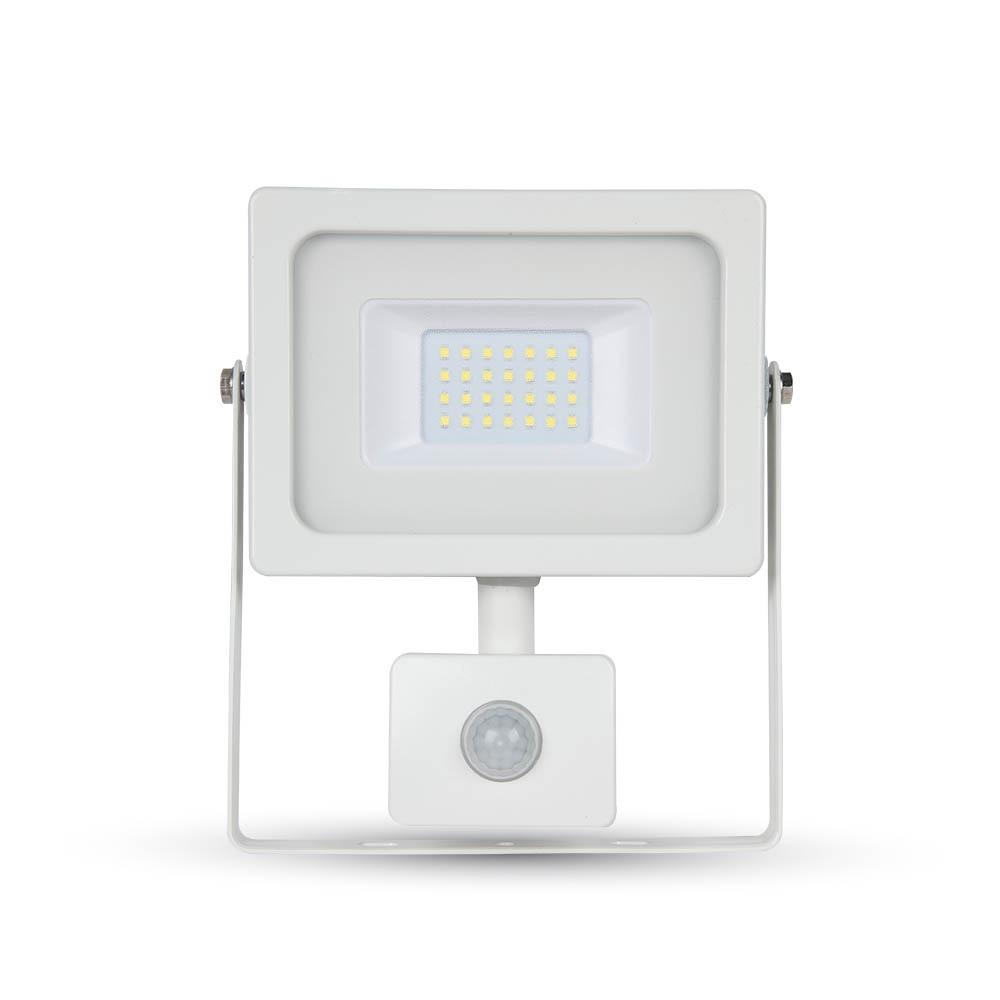 Proiector LED 20W cu Senzor, Corp Alb, Lumina Calda