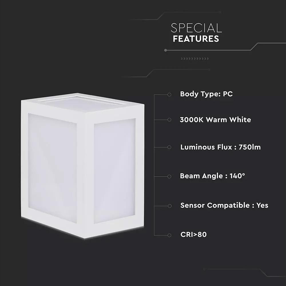 Lampa LED de Perete 12W, Corp Alb, Lumina Calda (3000K) IP65