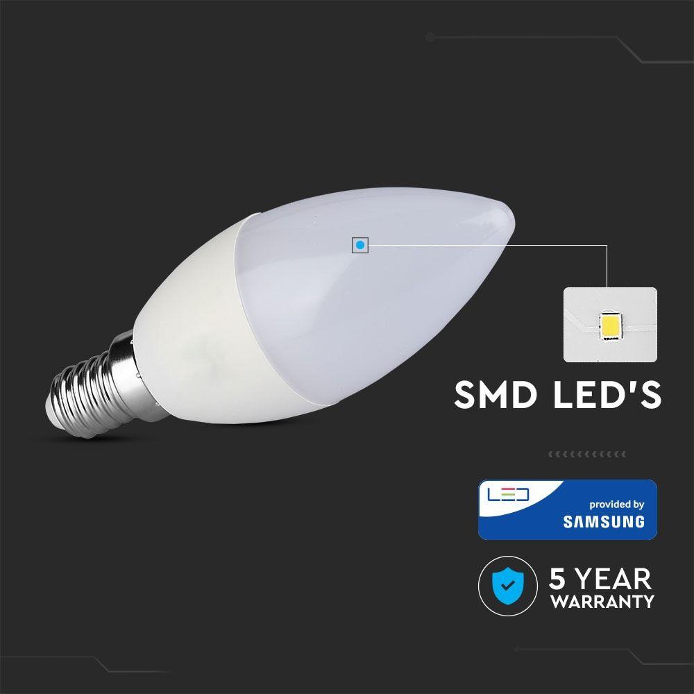 Bec LED Lumanare 7W, E14, Plastic, Lumina Naturala 4000K cu Cip Samsung