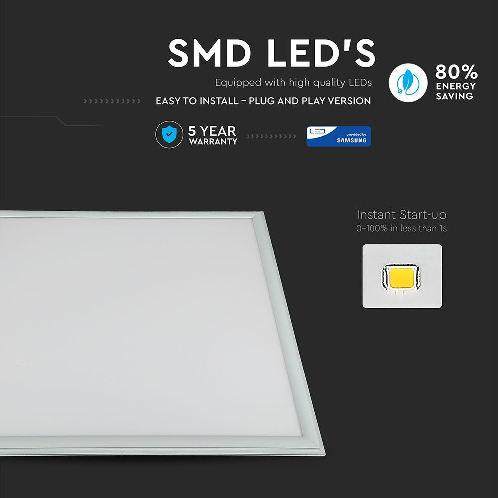 Panou LED 45W, 600x600 mm, Lumina Naturala 4000K cu CIP SAMSUNG
