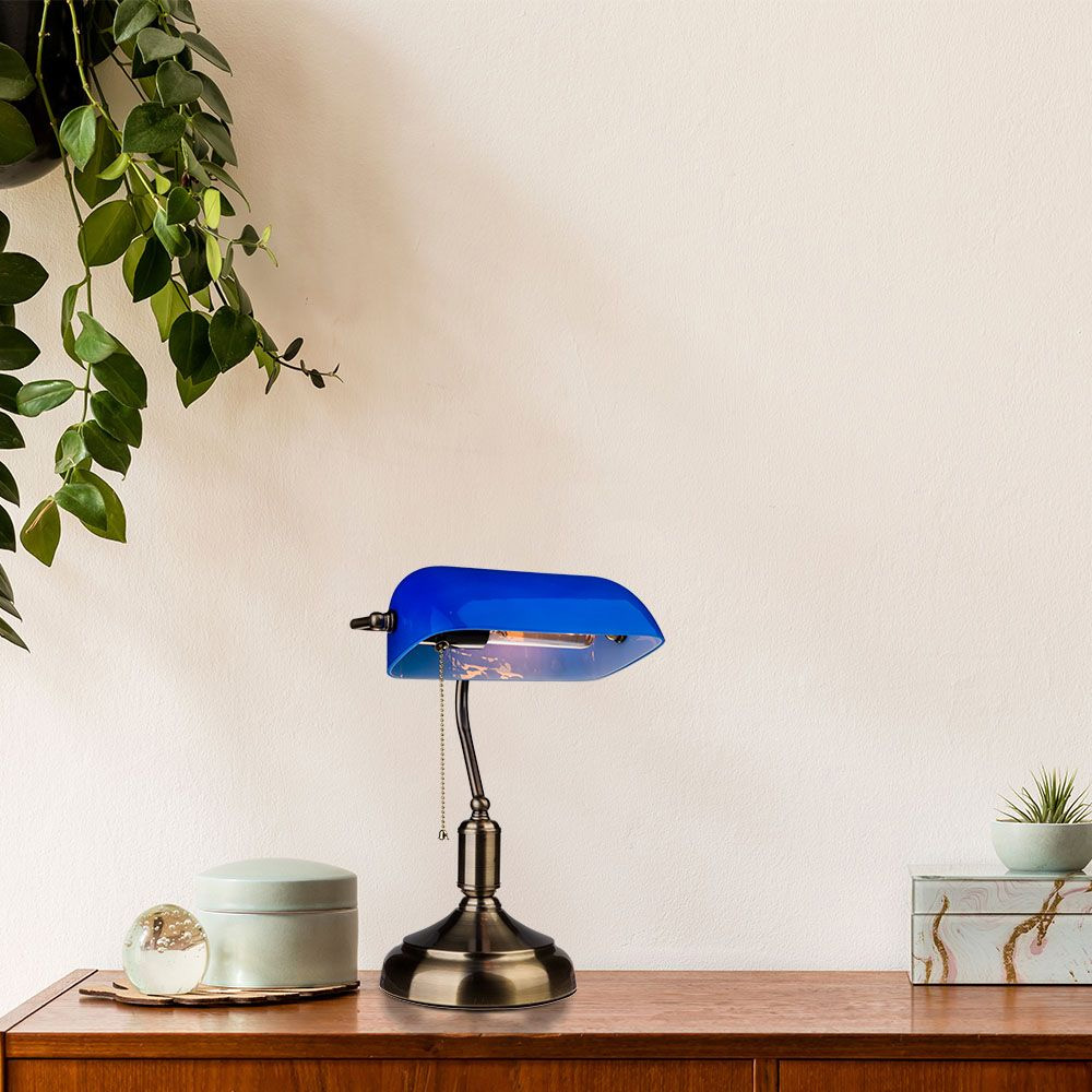 Lampa de Birou Vintage, Corp Albastru cu Soclu E27 si Comutator