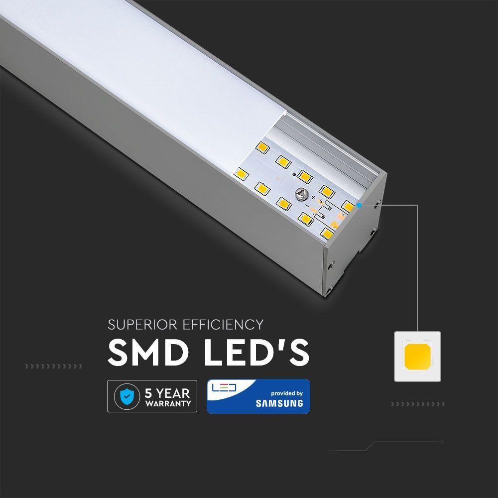 Lampa LED Liniara 40W, Suspendata, Corp Argintiu, Lumina Rece 6400K cu Cip Samsung