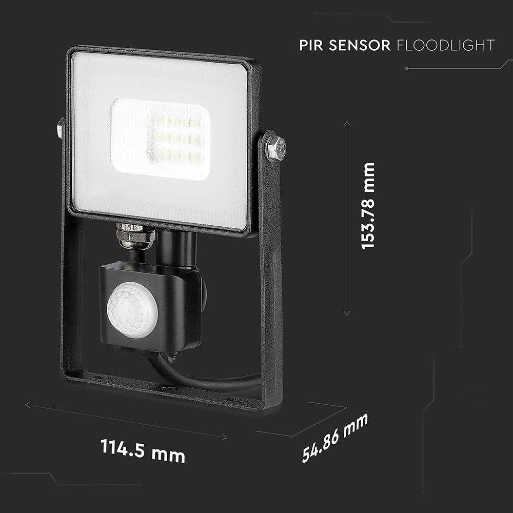 Proiector LED 10W cu Senzor Pir, Corp Negru, Lumina Rece, Cip Samsung