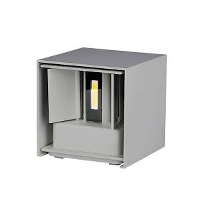 Lampa LED de Perete Patrata 12W, Corp Gri cu Cip Bridgelux, Lumina Calda (3000K)