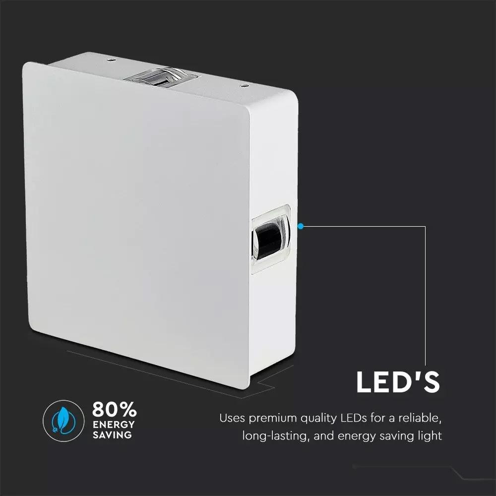 Lampa de Perete LED Patrata 4W, Corp Alb, Lumina Calda (3000K) IP65