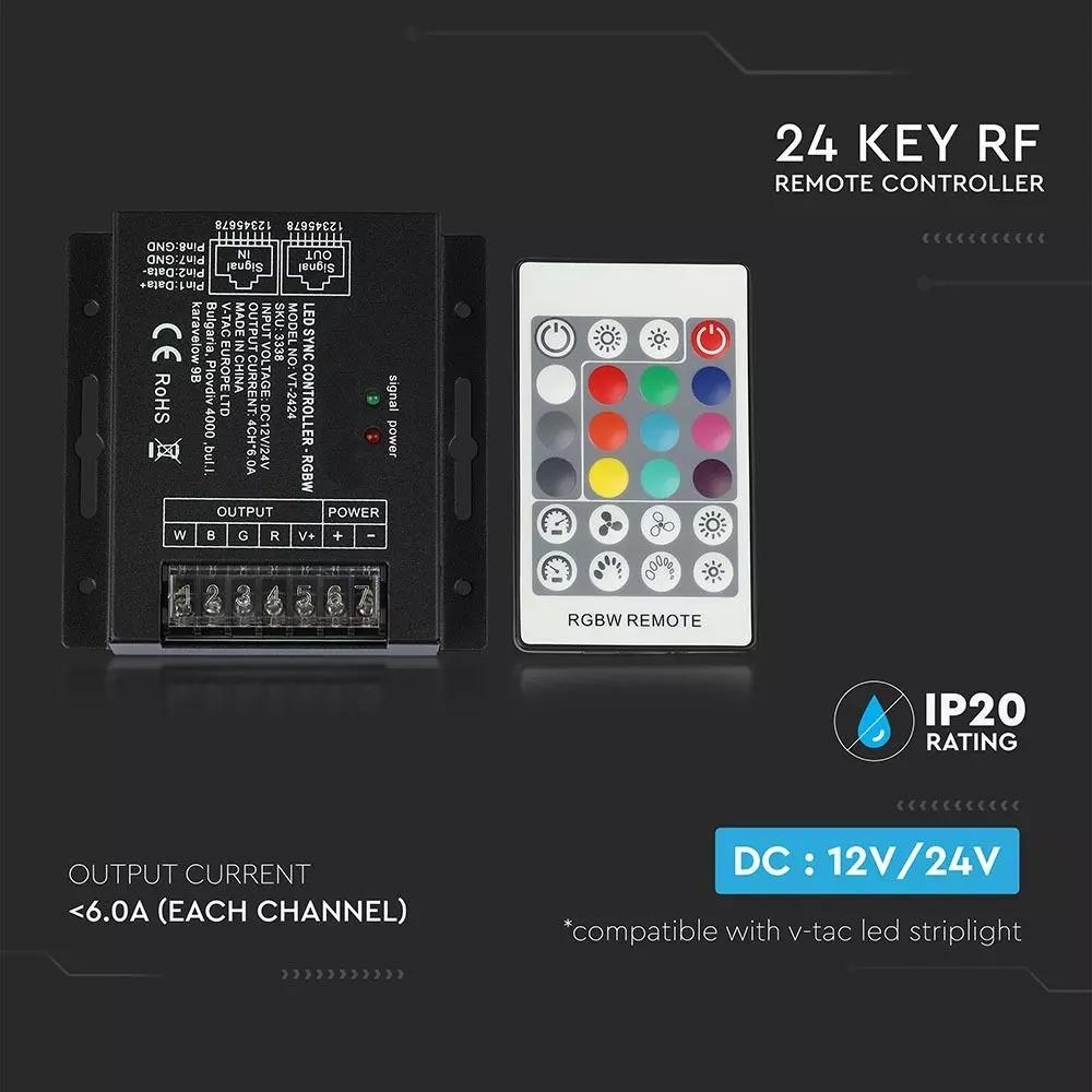 Controller LED cu Telecomanda Sincronizata cu 24B BF cu Dimer