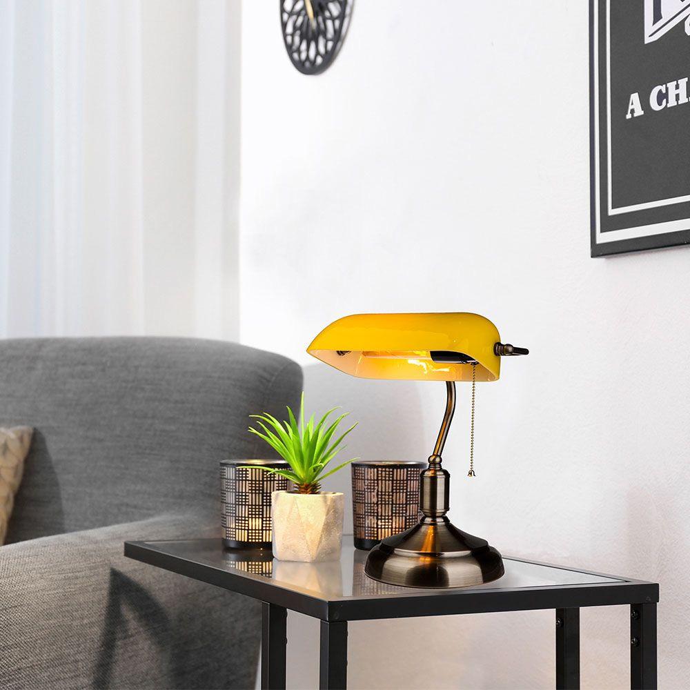 Lampa de Birou Vintage, Corp Galben cu Soclu E27 si Comutator
