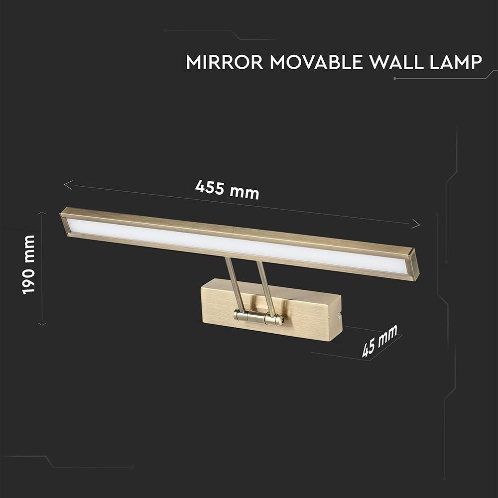 Lampa LED 8W pentru Tablou/Oglinda, Cromata, Lumina Calda