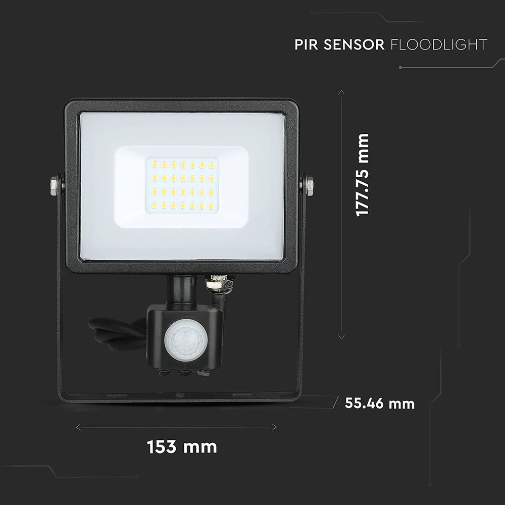 Proiector LED 20W cu Senzor Pir, Lumina Rece, Corp Negru, Cip Samsung