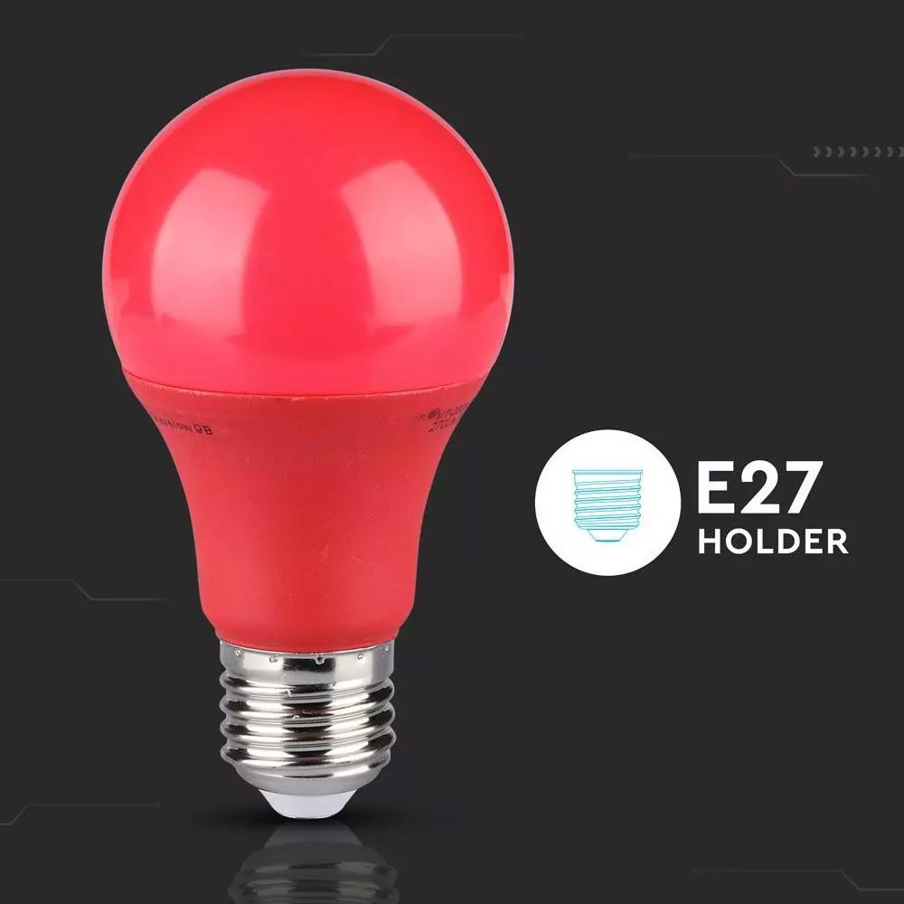 Bec LED 9W, E27, Culoare Rosie, Plastic