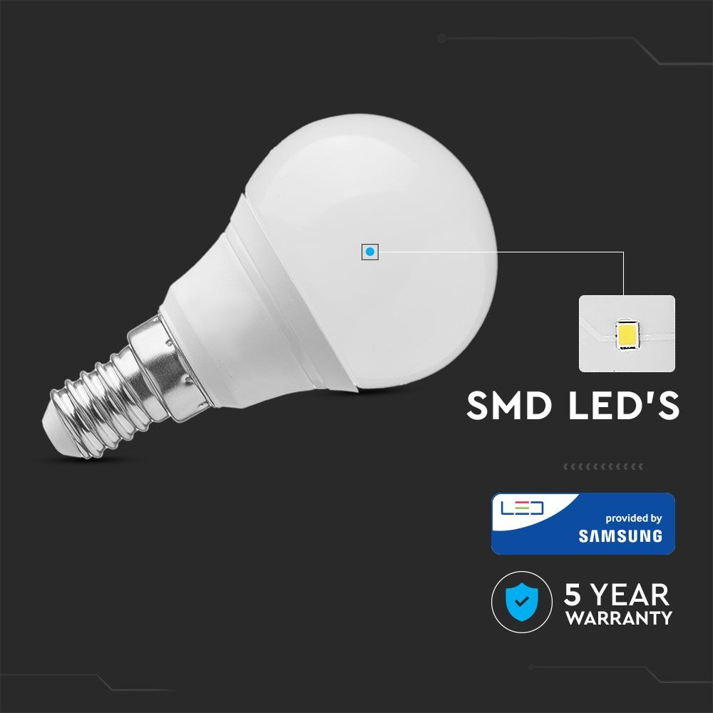 Bec LED 5.5W, E14, P45, Plastic, Lumina Rece 6400K - Chip SAMSUNG
