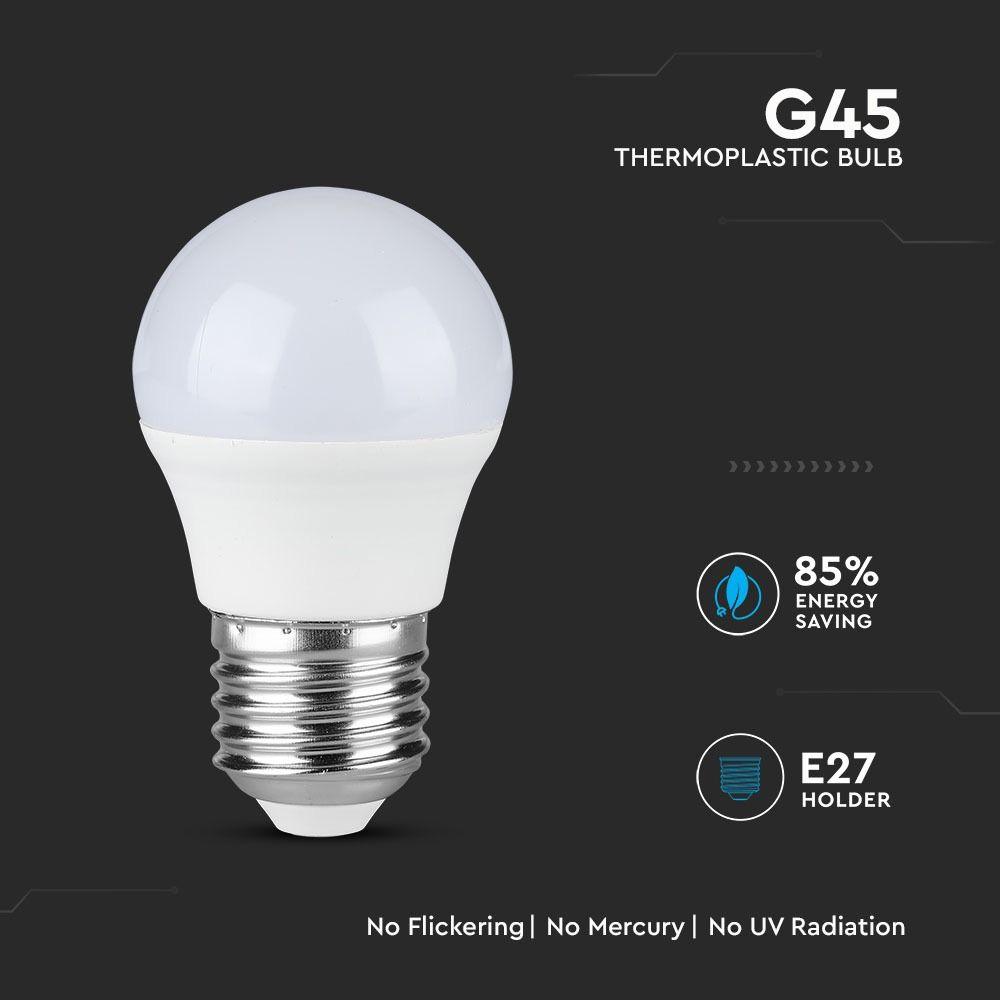 Bec LED 5.5W, E27, G45, Plastic, Lumina Rece 6400K  - Chip SAMSUNG