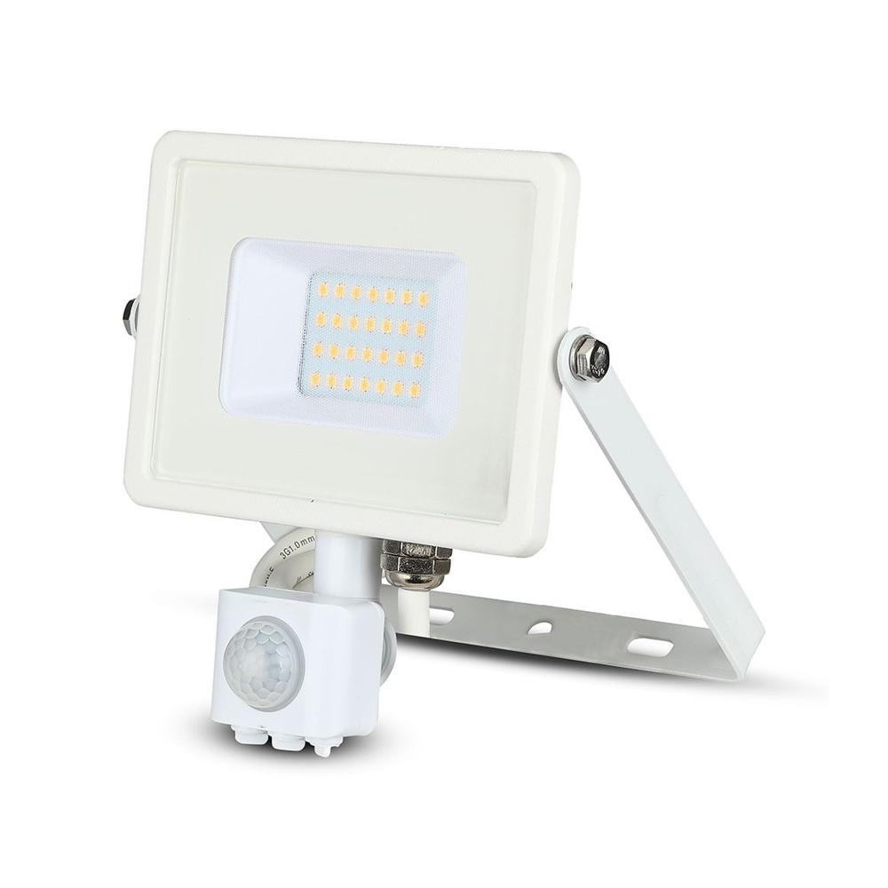 Proiector LED 20W cu Senzor Pir, Lumina Calda, Corp Alb, Cip Samsung
