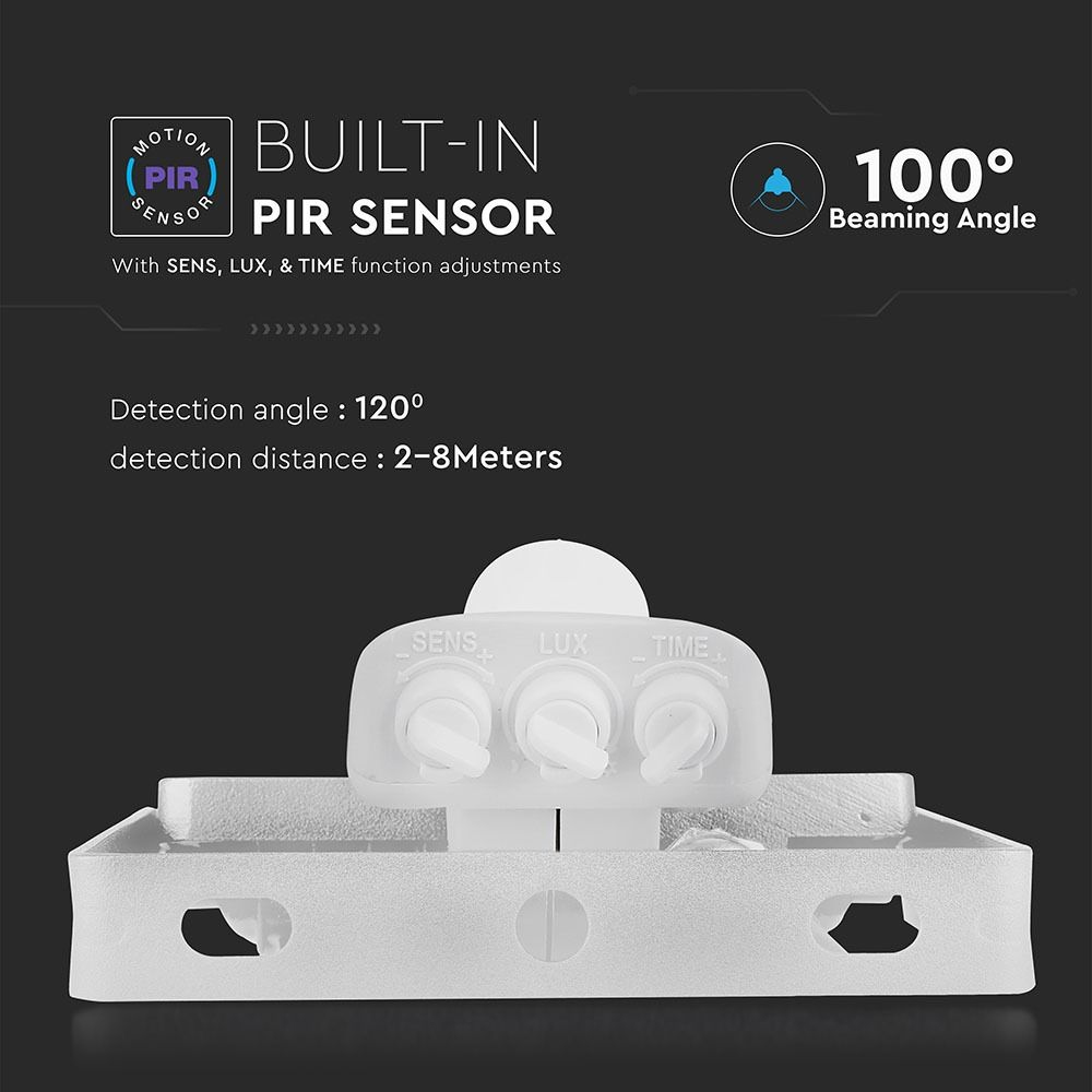 Proiector LED 20W cu Senzor Pir, Lumina Naturala, Corp Alb, Cip Samsung