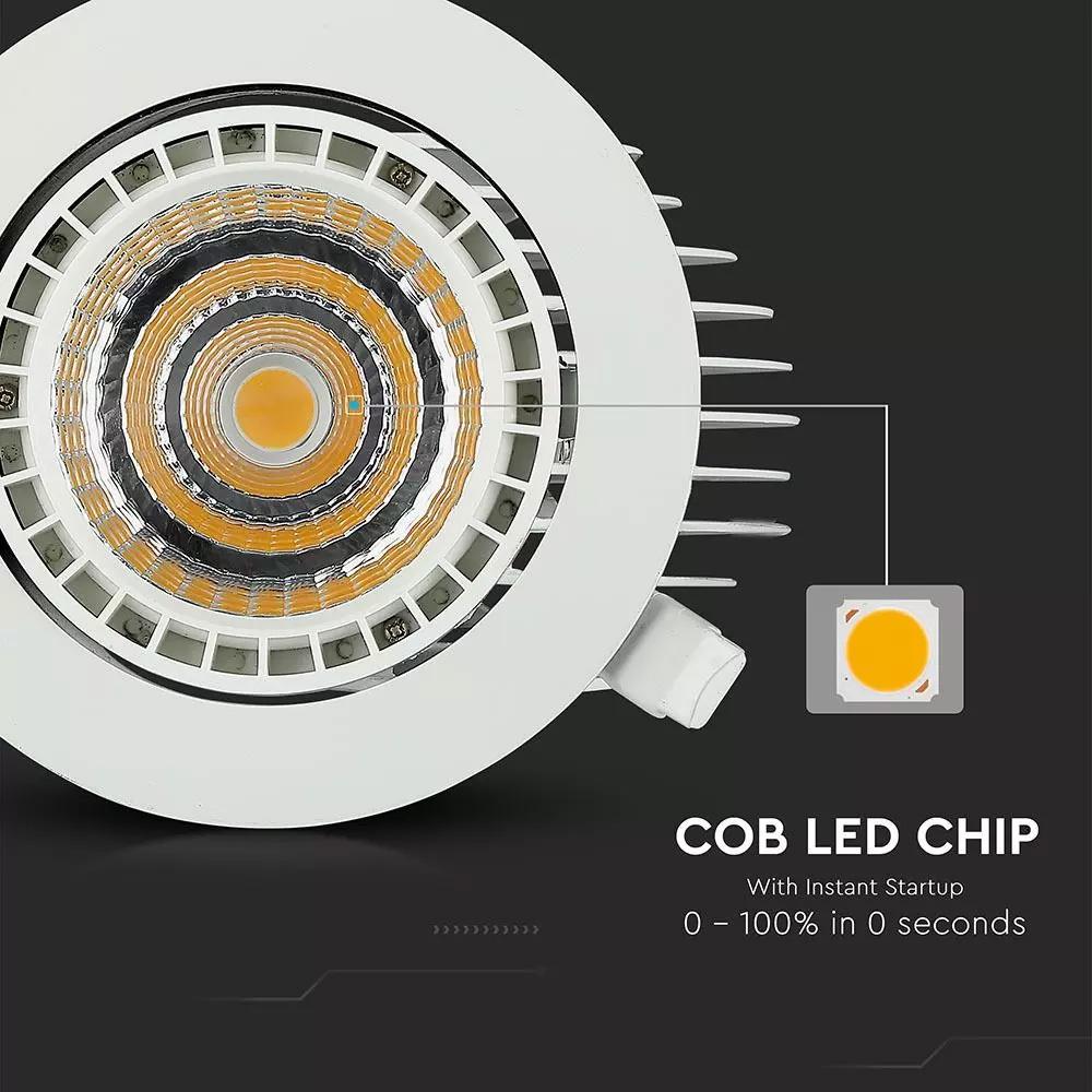Spot LED 33W, Cob Rotund Extensibil/Ajustabil, Lumina Calda (3000K)