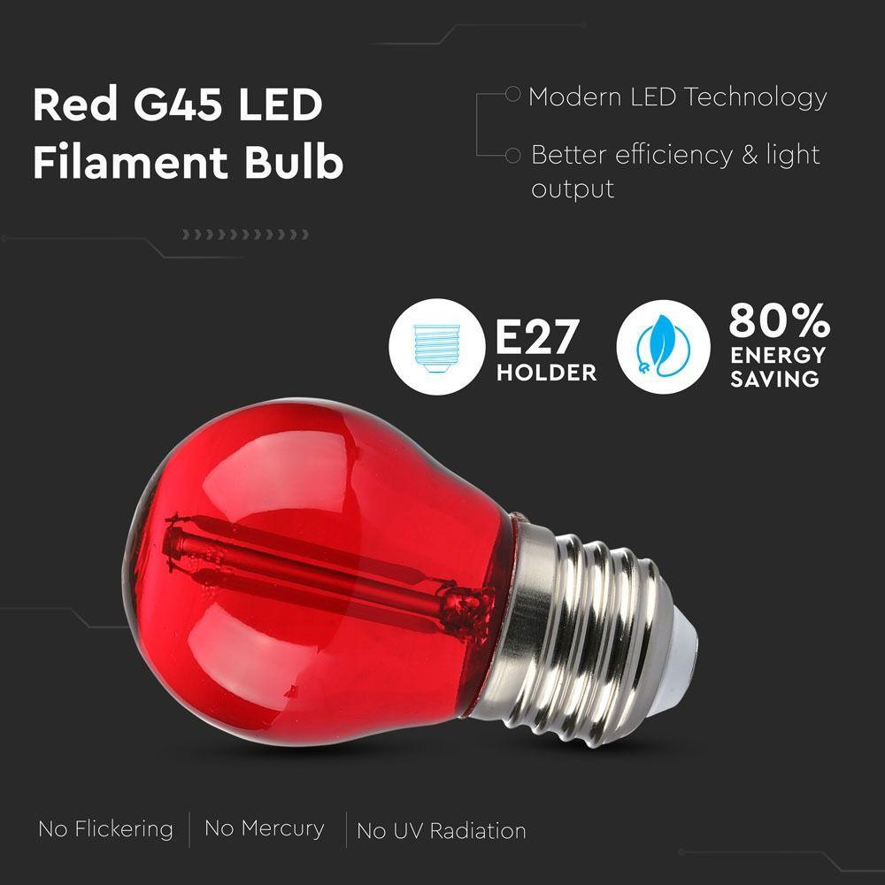 Bec LED 2W, Filament, E27, G45, Culoare Rosie