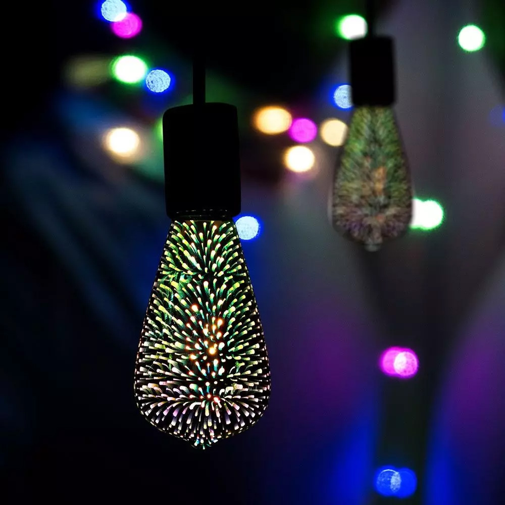 Bec LED 3W, E27 cu Filament, 3D, ST64, Lumina Calda 3000K, AC220-240V