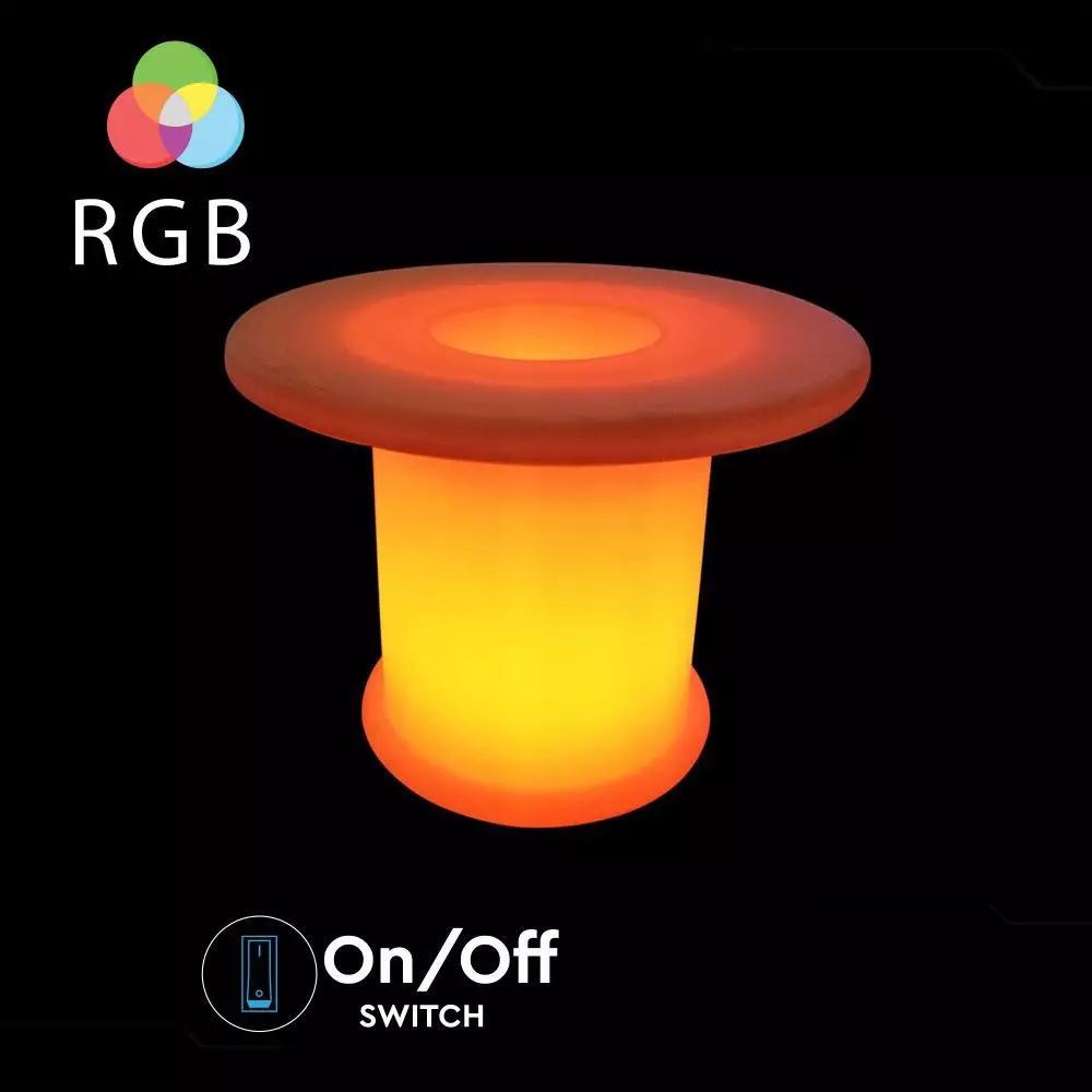Masa de Cafea LED RGB 6W cu Telecomanda, D70x54CM, IP54