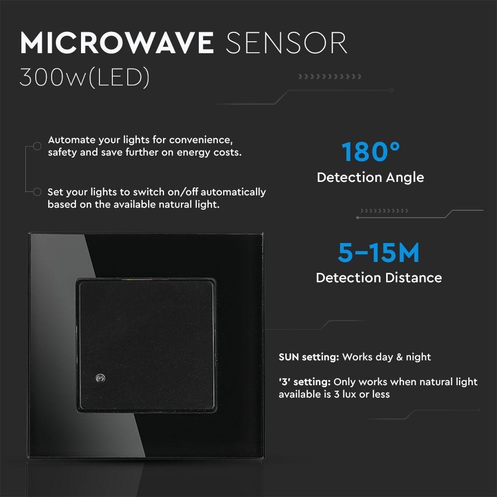 Senzor cu Microunde, Negru, IP20