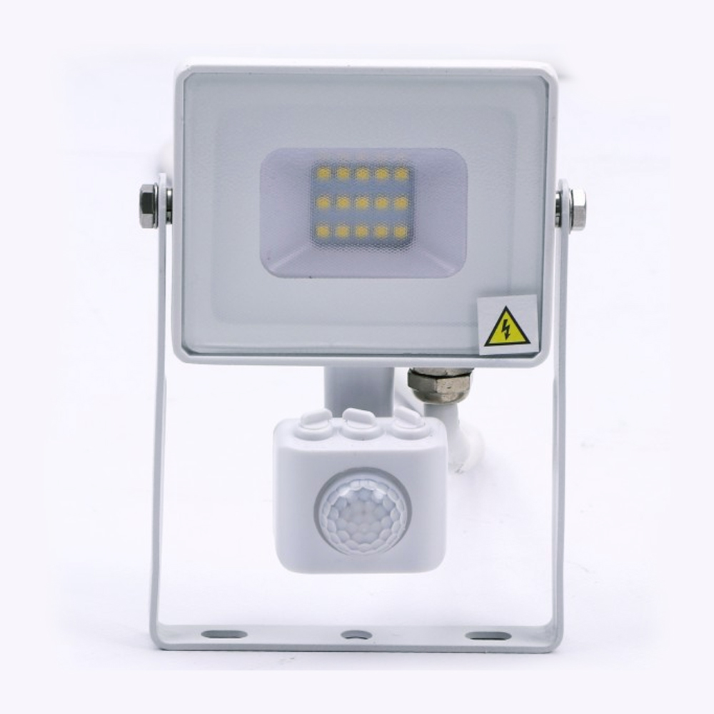 Proiector LED 10W cu Senzor Pir, Lumina Naturala, Corp ALB, CIP Samsung