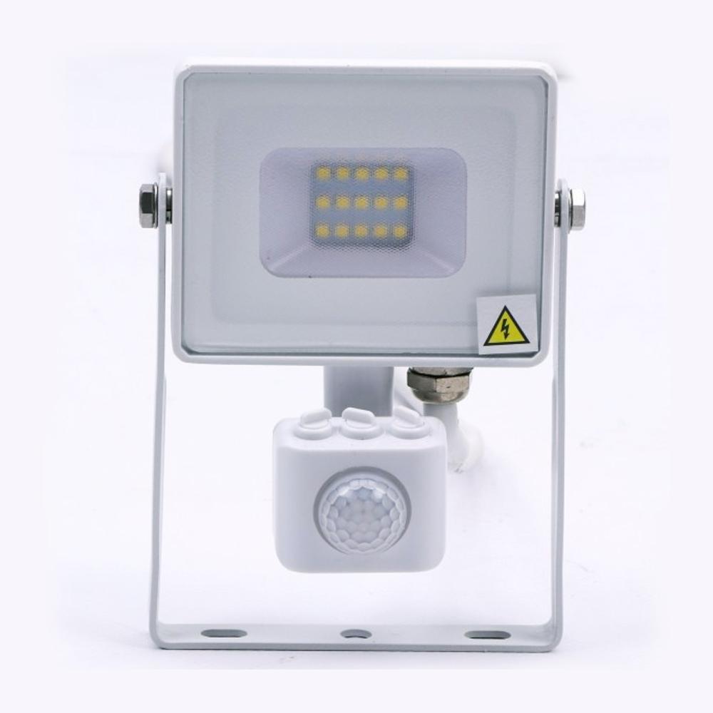Proiector LED 10W cu Senzor Pir, Lumina Calda (3000K) -Corp ALB, CIP Samsung