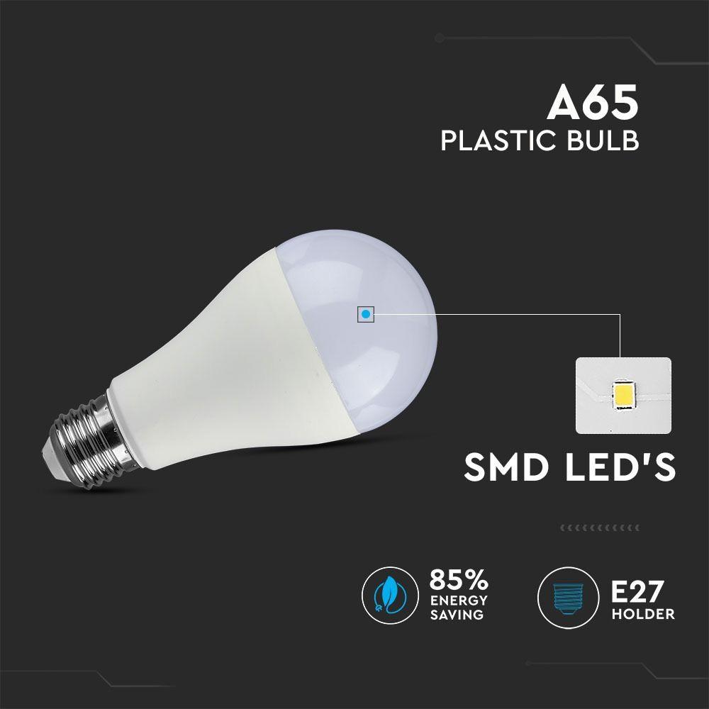 Bec LED 18W, E27, A80, 2000 de Lumeni, Plastic, Lumina Rece 6400K