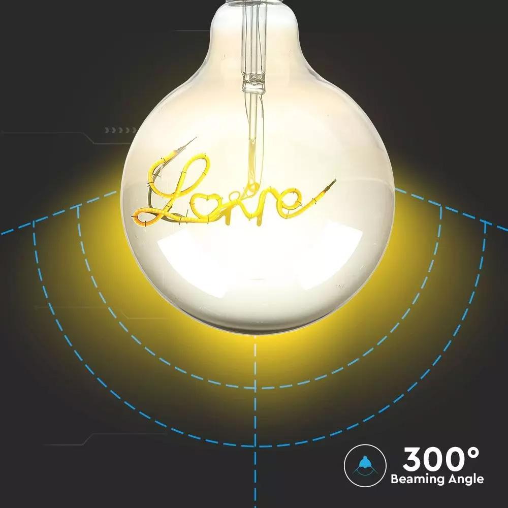 Bec LED Filament LOVE, 5W, G125, E27, Lumina Calda 2200K