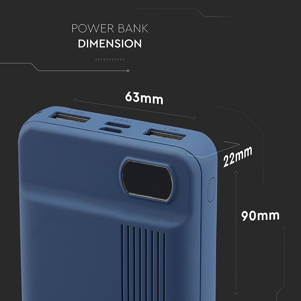 Baterie Externa Portabila, 10000mAh, Culoare Albastru Inchis