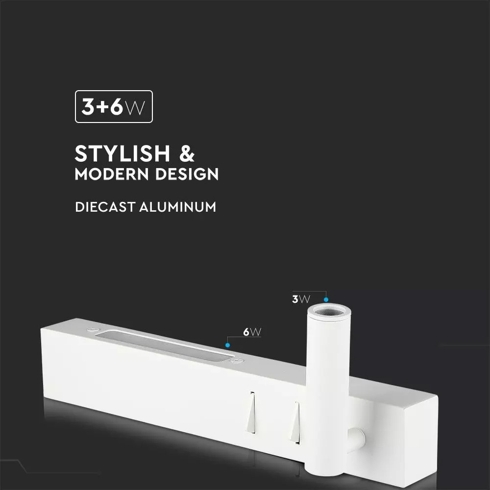 Lampa LED 3W + 6W pentru Citit, Corp Alb, Lumina Calda