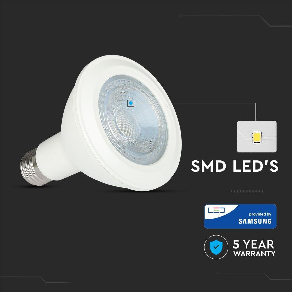 Bec LED 11W, E27, PAR30, Plastic, Lumina Calda 3000K - SAMSUNG CHIP