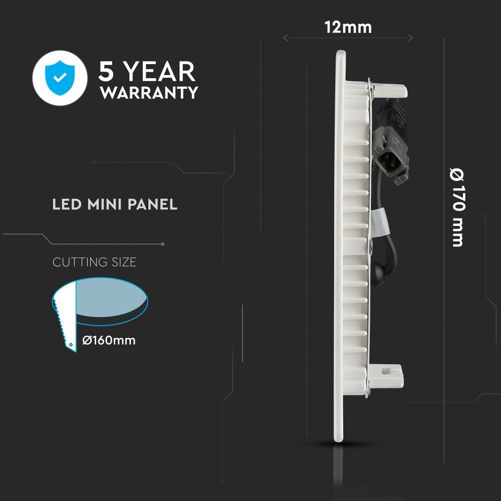 Panou LED 12W, Lumina Naturala 4000K, Rotund, Incastrat, Cip Samsung