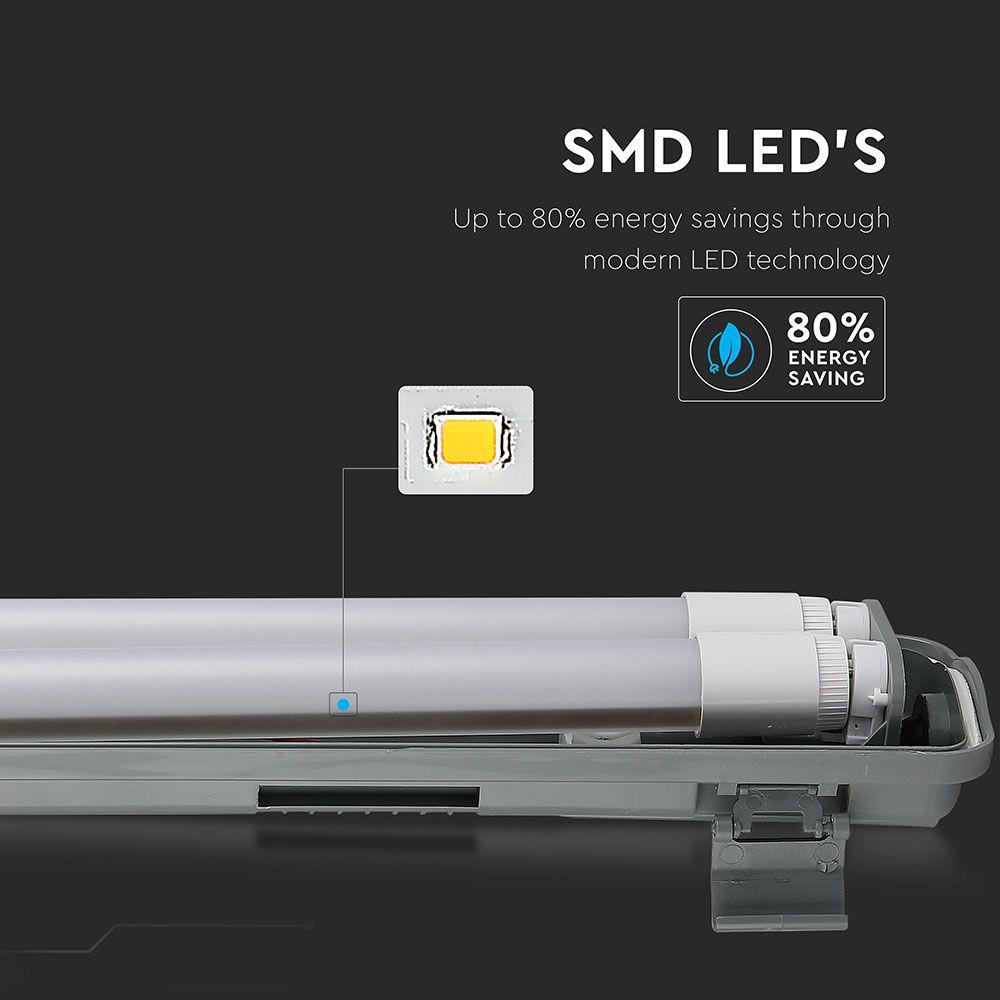 Lampa LED cu 2 Tuburi de 60cm, 2x10W, Lumina Rece (6400K) IP65