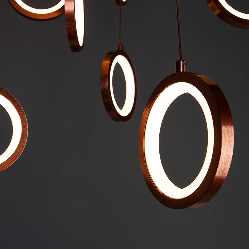 Lustra LED cu 14 Inele 80W, Lumina Calda 3000K