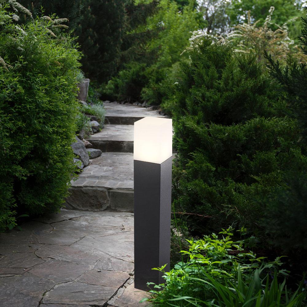 Lampa de Gradina cu Soclu GU10, Corp Patrat Negru, Dimensiune 80x80x500mm