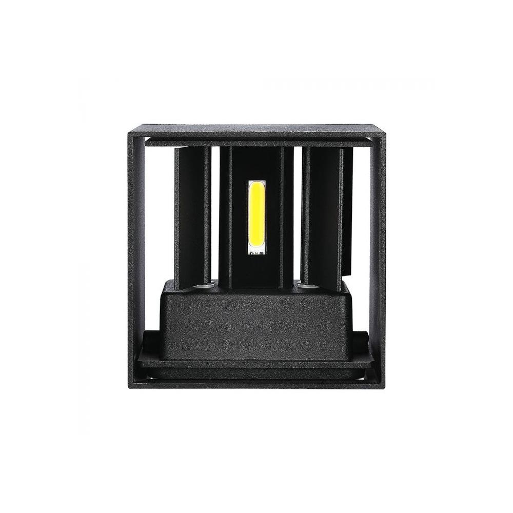 Lampa LED de Perete Patrata 12W, Corp Negru cu Cip Bridgelux, Lumina Naturala (4000K)