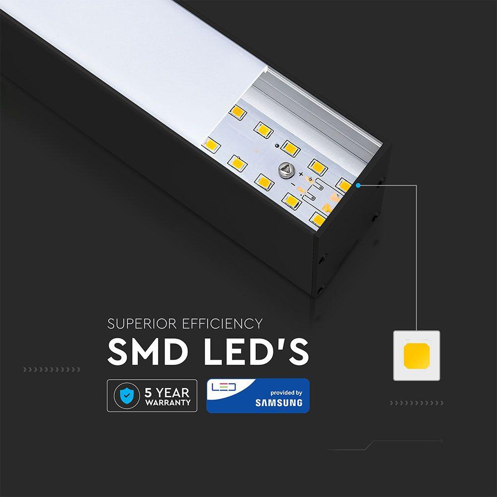 Lampa LED Lineara cu Cip Samsung - 40W Suspendata Corp Negru 6400K
