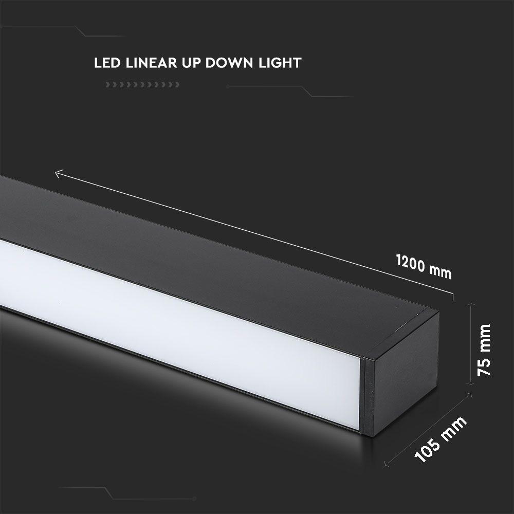 Lampa LED Lineara Lumineaza Sus/Jos cu Cip Samsung - 60W Suspendat Corp Negru 4000K