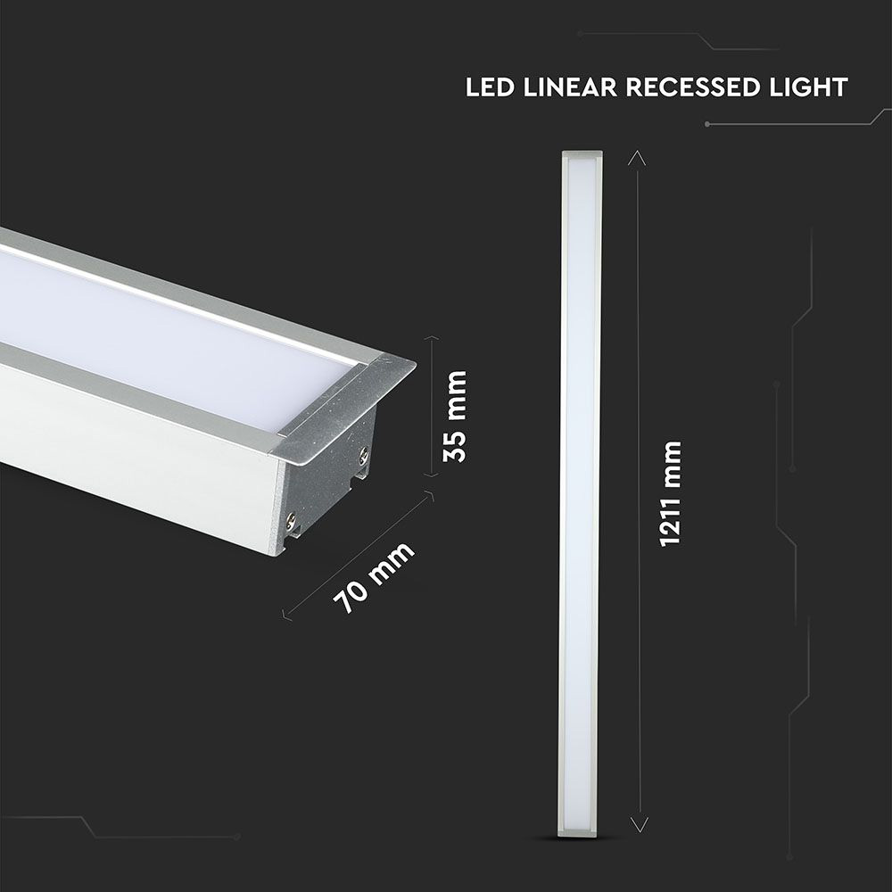 Lampa LED Lineara cu Cip Samsung - 40W, Încastrata Corp Argintiu 4000K