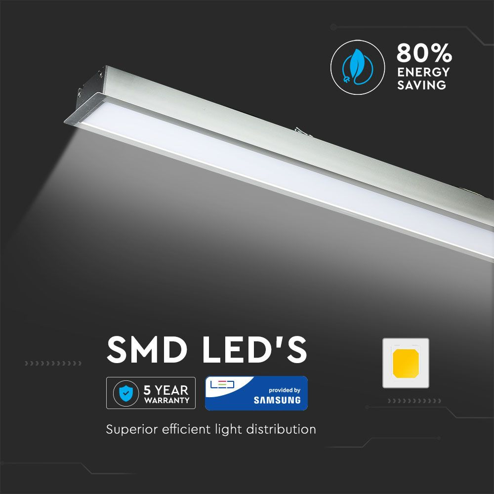 Lampa LED Lineara cu Cip Samsung - 40W, Încastrata Corp Argintiu 6400K