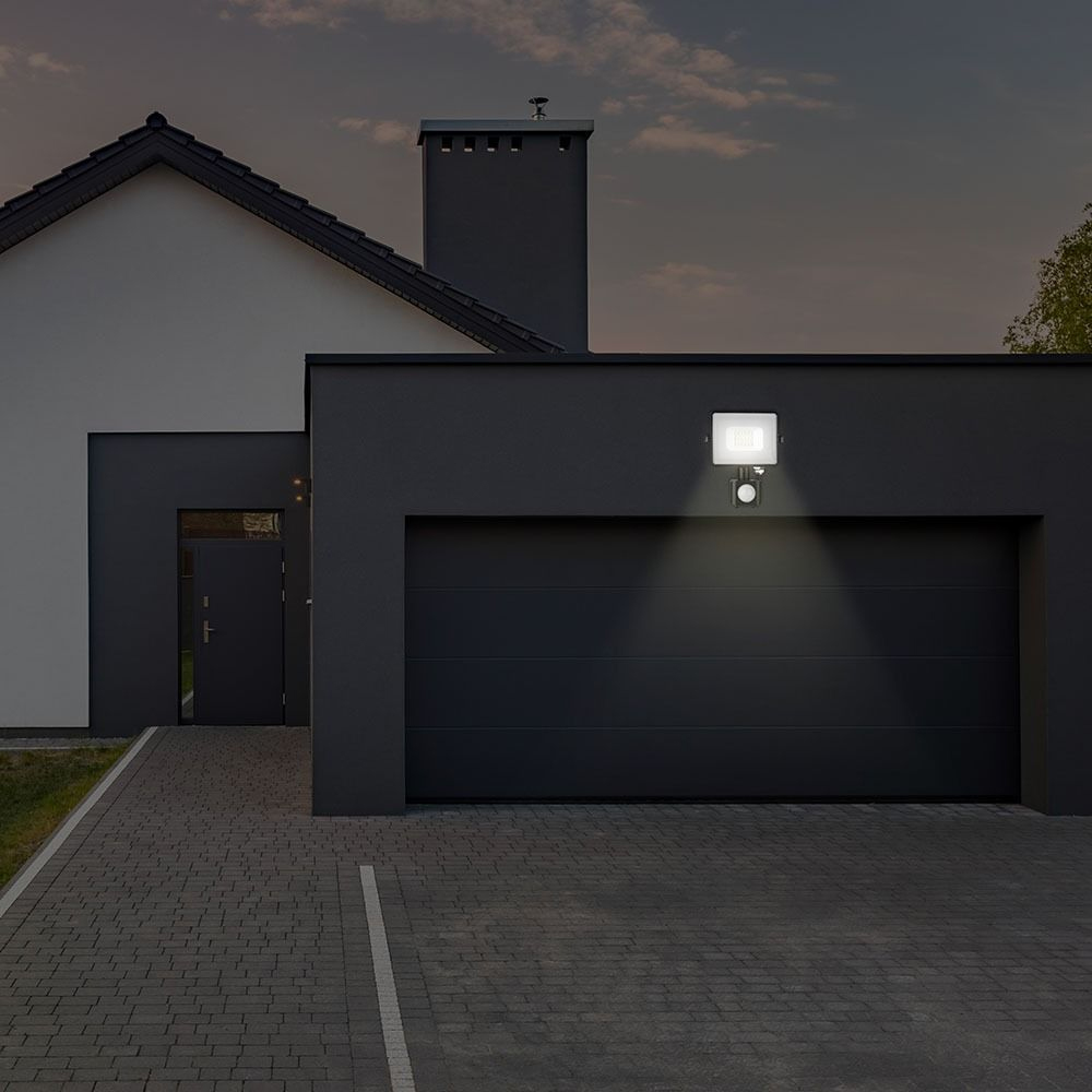 Proiector LED 50W cu Senzor, Corp Negru, Lumina Rece cu Cip Samsung