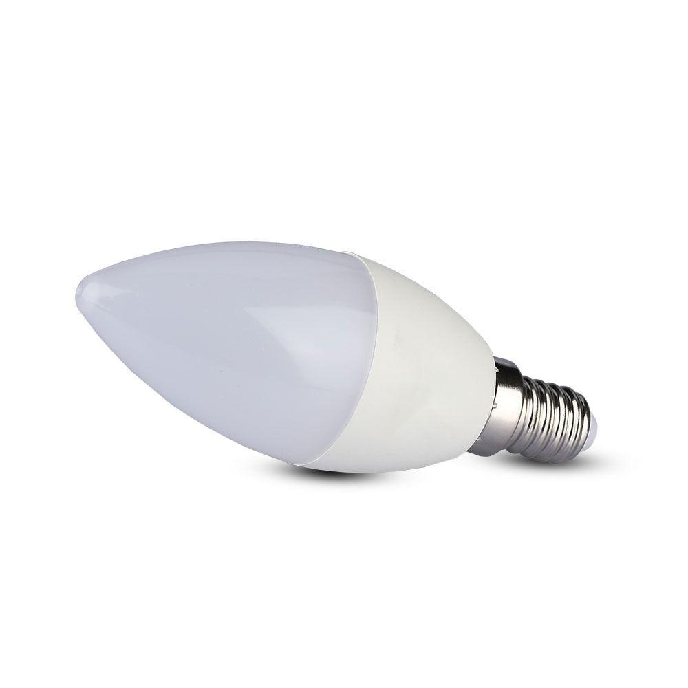 Bec LED 7W, E14, Plastic, Lumanare, Lumina Rece 6400K - CIP SAMSUNG