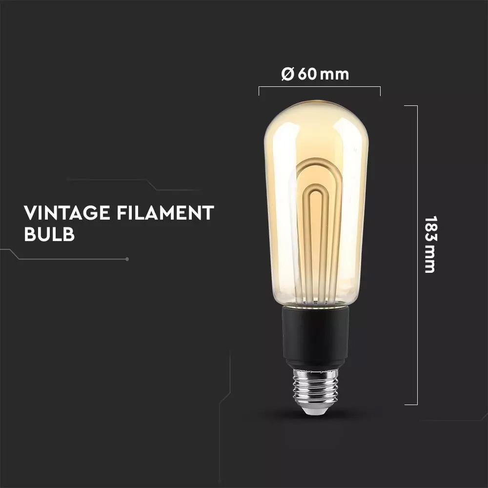 Bec LED 5W, E27, T60, Vintage, Lumina Calda 2700K