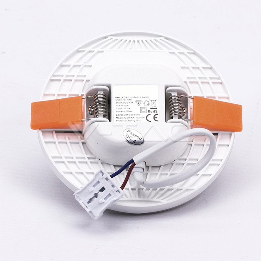 Panou LED 12W, Ajustabil, Rotund, Lumina Naturala 4000K - Cip SAMSUNG