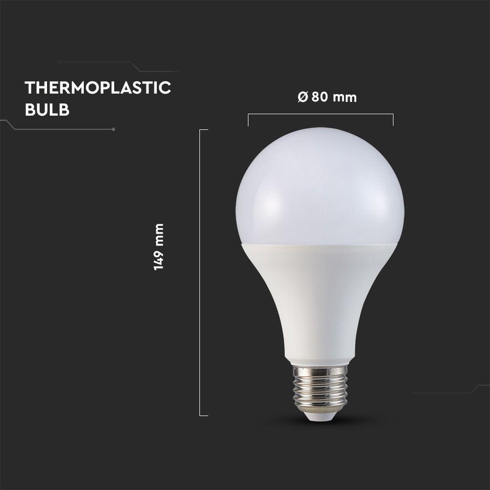 Bec LED 20W, E27, A80, Plastic, Lumina Rece 6400K