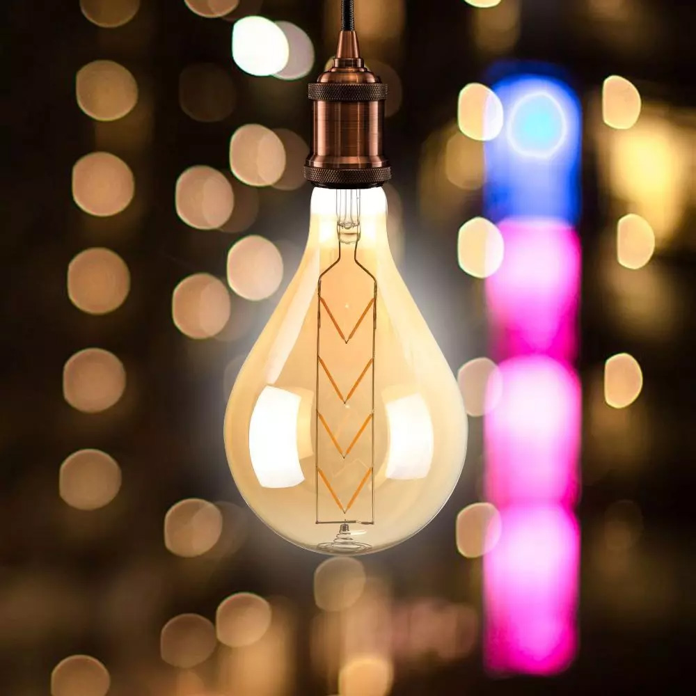 Bec LED 8W, E27, G165, Amber Glass, Lumina Calda 2200K, Dimabil