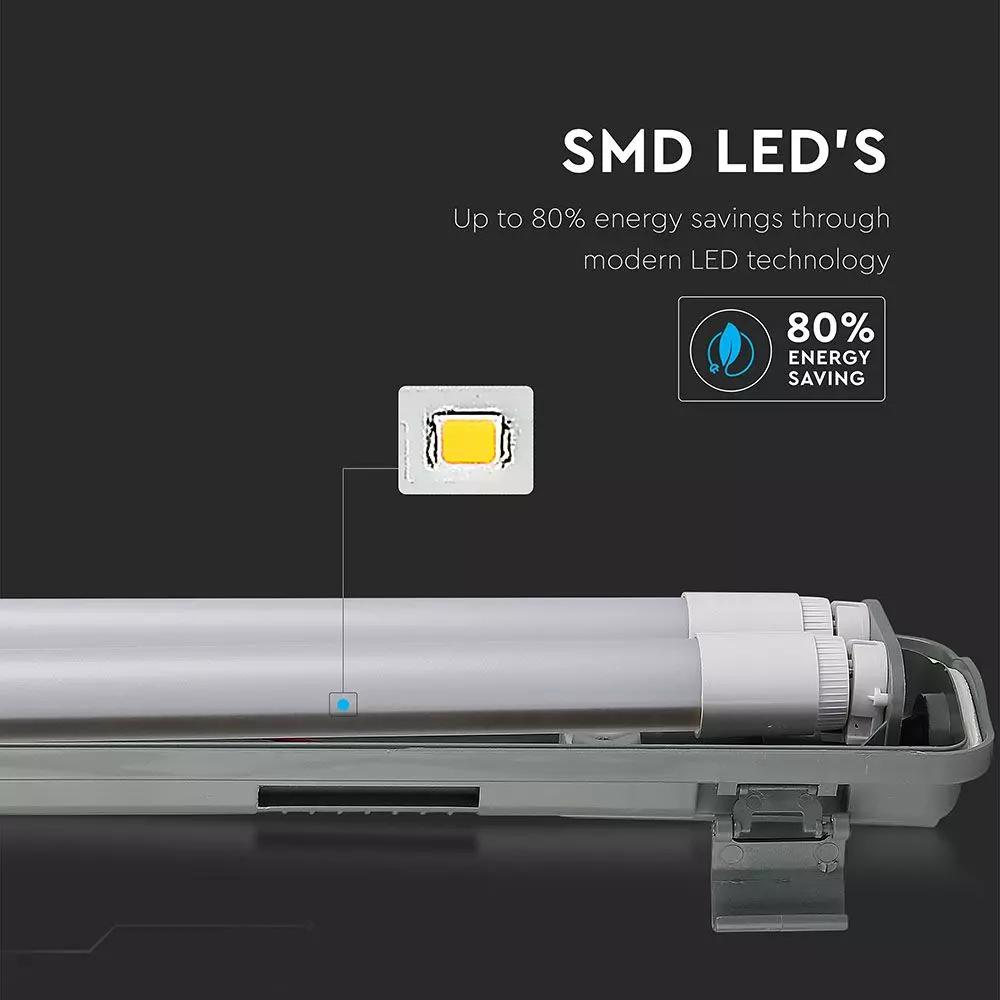 LAMPA LED CU TUBURI 2X1200MM - 2X18W, LUMINA RECE (6400K) IP65