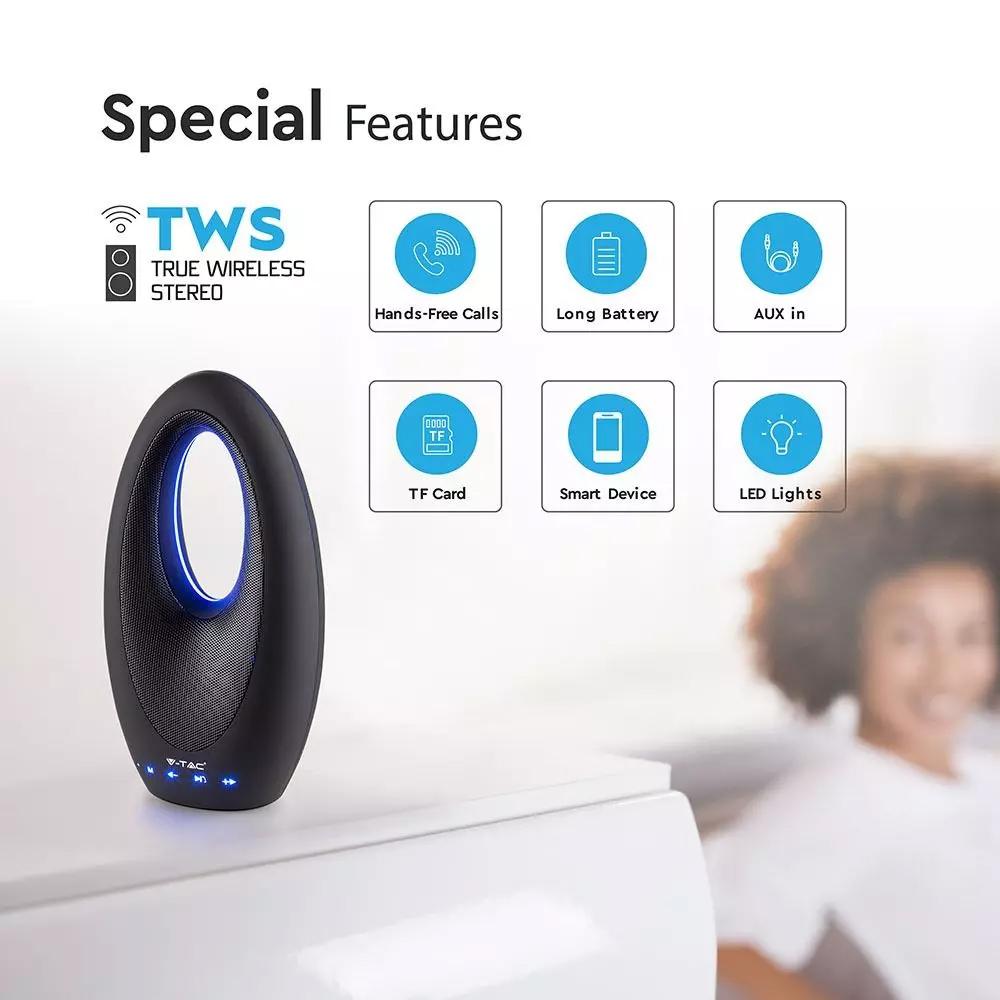 Boxa Bluetooth Portabila cu Buton Tactil si Slot USB si TF TWS, Baterie 1200 mAh