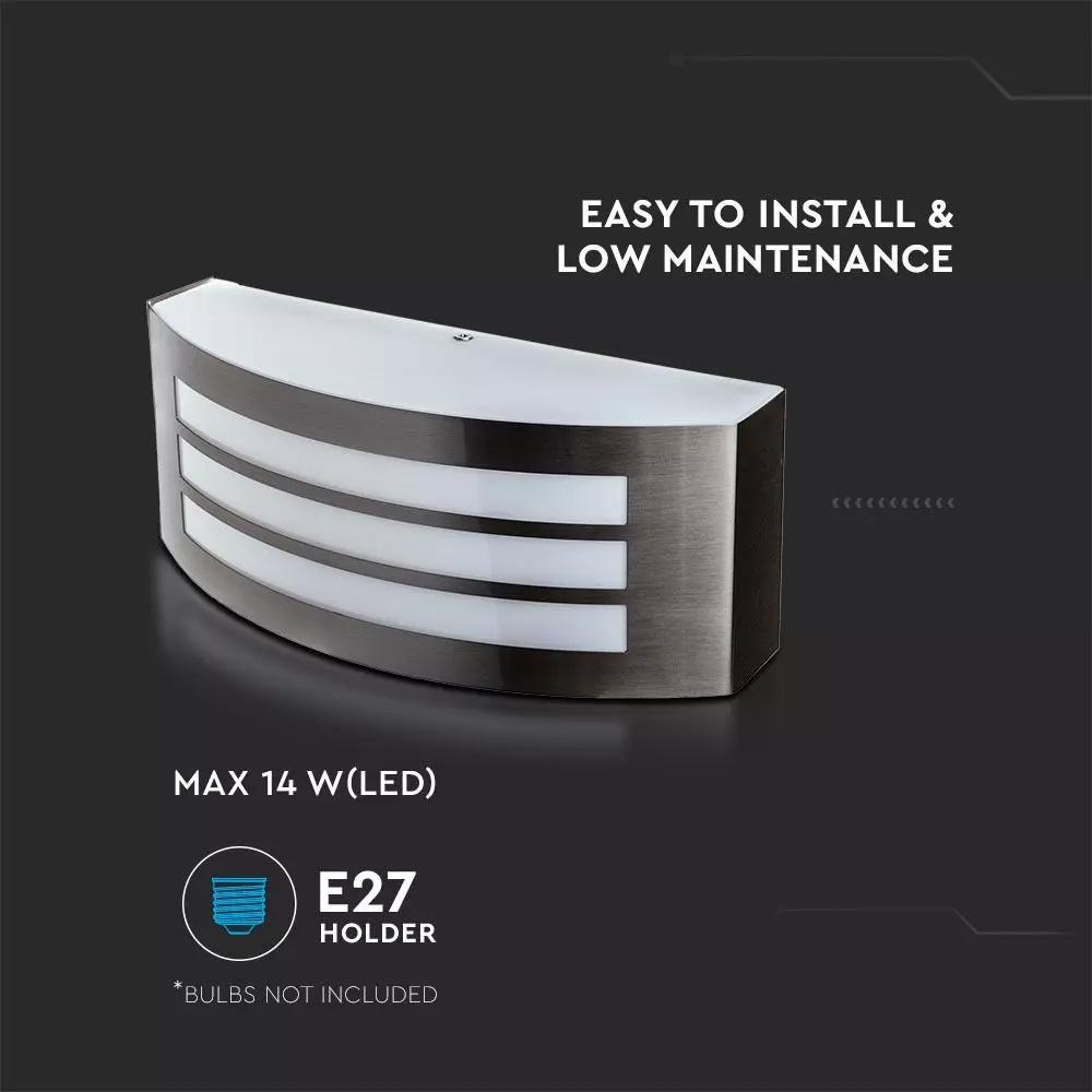 Lampa de Perete E27 din Otel Inoxidabil si PC IP44